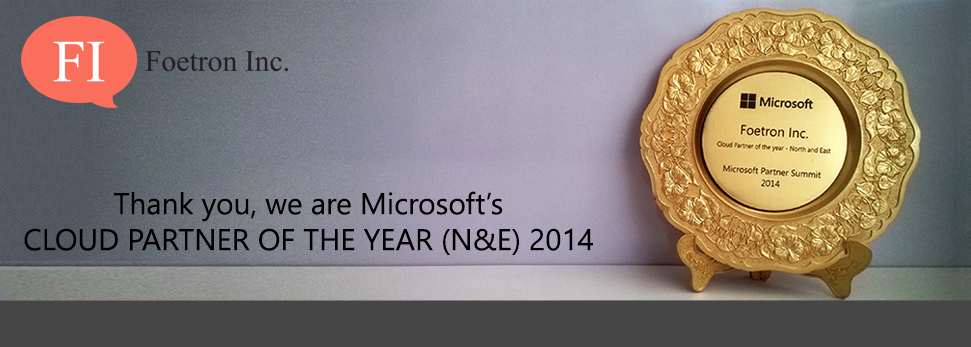 WE ARE THE MICROSOFT'S CLOUD PARTNER OF THE YEAR 2014 (N&E). THANK YOU!