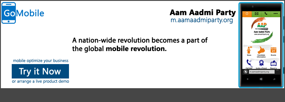 Aam Aadmi Party is live on mobile.